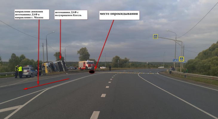 На трассе в Мордовии опрокинулась фура: один человек погиб, еще один госпитализирован