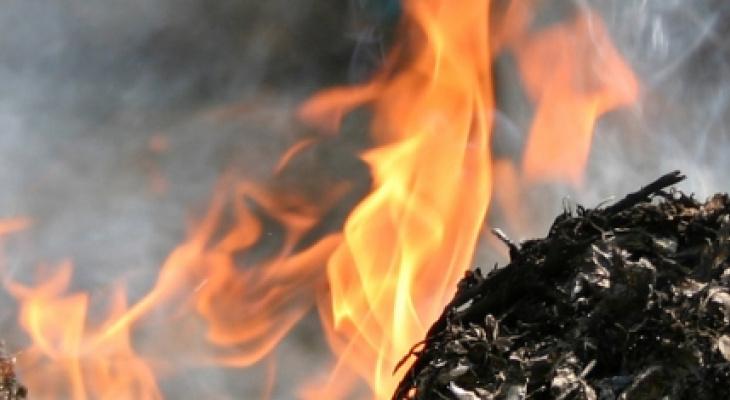 В Саранске горел мусор в неэксплуатируемом строении на Лихачева